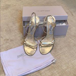 Jimmy choo metallic gold sandals
